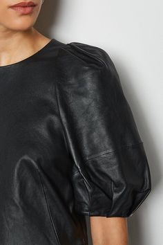 Tick off the season's key trends with this leather mini dress. A luxe take on the classic LBD, it features statement puff sleeves, a round neck and easy shift shape. Leather Mini Dress, Leather Dresses, Mini Dress With Sleeves, Puff Sleeves, After Dark, Karen Millen, Paisley Print, Lbd, Dress Collection