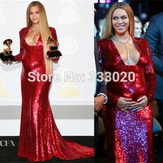 2017 Grammy Awards Red Carpet Beyonce Red Sequin Maternity Evening Dress for  Pregnant Women Long Sleeves Celebrity
