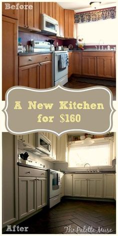 Get a light, bright, airy kitchen from your dark and dated one, for less than $160...and a little elbow grease! thepalettemuse.com