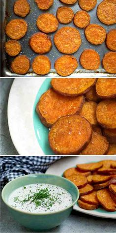 SWEET POTATO CHIPS WITH CREAMY LEMON AND DILL DIP - chips, creamy, healthy, lemon, potato, recipes, sweet