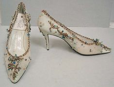 Evening shoes; silk, nylon, leather, glass, metallic thread, plastic; Roger Vivier for Dior; 1957.