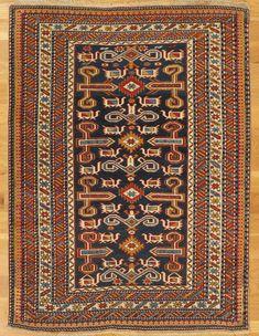 "Perepedil rug,Kuba District,Eastern Caucasus,circa 1885, 4'.1""x3'.1"" (124x94 cm)."