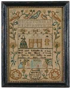 Rare Needlework Sampler, Rebecca, Whitwell, probably Warren, Rhode Island, dated 1785 | Lot | Sotheby's