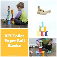 A toilet paper roll toy that can be built into towers, rolled, and played with.
