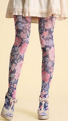 Purple floral tights with cream t-bar heels