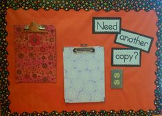 Tired of students coming to you when they've been absent or have lost their work...needing another copy? Just make a few extra copies, post them on clip boards in a designated spot and let them be responsible for themselves!