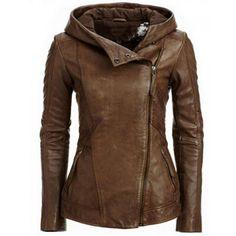 Coffee Plain Zipper Long Sleeve Fashion Jacket