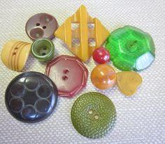 BAKELITE Buttons.  Colors and Shapes.  Double Cut Pierced Butterscotch.  Balls, Hexagon.  OneWomanRepurposed B 449 by OneWomanRepurposed on Etsy