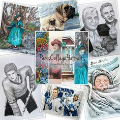 Custom Portraits from your own photos and Imagination!  Many styles, any occasion! www.pamscollageportraits.etsy.com