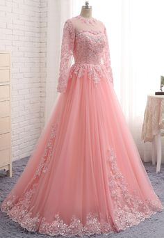 Pink lace customize unique long formal prom dress with sleeves