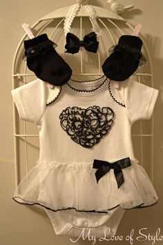 "Cute way/idea to dress up a regular white onesie sew on lace/tulle ""tutu""add ribbon detail or sweet picture on front"