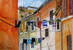 Juan Díaz Almagro. LA COLADA. CALLE DE ROMA. ACUARELA. PAPEL WINSOR & NEWTON 300 GR GRANO FINO. 35 x 25 cm. 2015