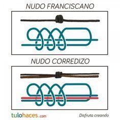 Nudos macramé: Nudo franciscano y nudo corredizo   Abalorios online.Tulohaces.com