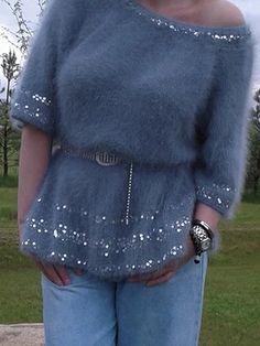 Angora Sweater, Knit Cardigan, Sweater Knitting Patterns, Knit Fashion, Diy Shirt, Knit Crochet, Sewing, My Style, Sweaters