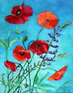 Elizabeth See Paints: Poppies And Lupine