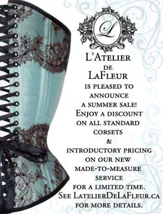 Summer sale at www.latelierdelafleur.ca. Head over and check out our made to measure introductory pricing and our sale on standard size corsets. #corset #corsets #bespoke #lingerie #customcorsets Custom Corsets, Summer Sale, Burlesque, Detail, Bespoke, Goodies, Lingerie, Shape, Check