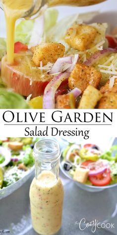 This homemade Olive Garden Salad Dressing recipe has simple ingredients and is so easy to make! This homemade Olive Garden Salad Dressing recipe has simple ingredients and is so easy to make! Salada Do Olive Garden, Olive Garden Salad, Olive Garden Recipes, Olive Salad, Olive Garden Food, Olive Garden Dressing, Olive Recipes, Healthy Salad Recipes, Vegetarian Recipes