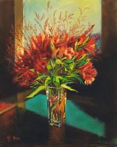 """NJ Busse Fine Art-Still Life Flower Art Painting """"Red Flowers"""" by Colorado Artist Nancee Jean Busse"""