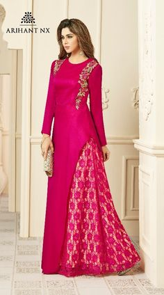 Customized partywear gowns Choices on fabric, design and size is available. Couture Dresses Gowns, Indian Gowns Dresses, Fashion Dresses, Silk Kurti Designs, Kurti Designs Party Wear, Stylish Dress Designs, Stylish Dresses, Indian Designer Outfits, Designer Dresses