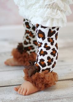Leopard Print  Leg Warmers Baby Outfit  leggings pants with tulle ruffles  Cheetah Brown on Etsy, $10.95