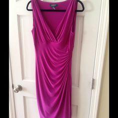 """Ralph Lauren fuschia color dress Ralph Lauren fuschia color dress, faux wrap. Length from the empire waistline is 29 3/4"""". Ralph Lauren Dresses"""