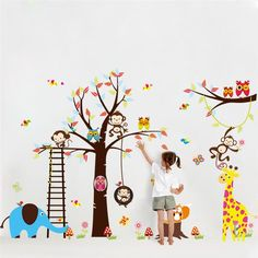 buy large tree animal wall stickers for kids room decoration 1213 monkey owl zoo cartoon diy #modern #wall #decals