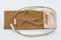 Canvas pop-up bag with leather handles / por chrisvanveghel en Etsy