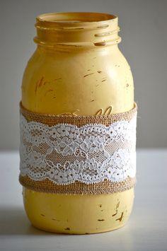 Decorating Mason Jars with Burlap | , burlap/lace mason jar, rustic wedding decor, farmhouse decor ...