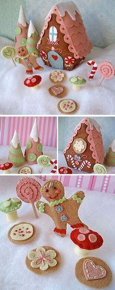 felt christmas gingerbread village