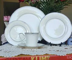 Vintage Noritake 7720 Sterling Cove, 5 Piece serving Set, Serves 1,  Silver Tone,  Dinner, Salad, Bread Plate, Cup and Saucer, Formal Tea by ClassyTea on Etsy