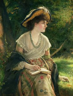 Woman Reading Painting by Robert James Gordon