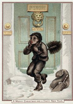 A doctor's front door, with a chimney sweep, in the snow. Wellcome