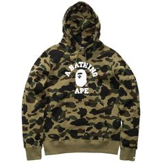 BAPE 1ST CAMO COLLEGE PULLOVER HOODIE ($314) ❤ liked on Polyvore featuring tops, hoodies, brown hooded sweatshirt, camo hooded sweatshirt, hooded pullover sweatshirt, sweater pullover and camouflage hooded sweatshirt