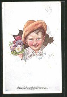 Artiste-AK-Karl-jour-ferie-portrait-d-039-un-jeune-avec-un-bouquet-de-fleurs-gluckwu