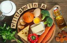 Vitamin A in food. Natural products rich in vitamin A as tangerine, red pepper, , Vitamin A, Vitamins For Hair Loss, Brain Health, Bone Health, Health Foods, Health Benefits, Nutrition Program, Protein Shakes, Vitamins And Minerals
