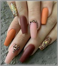 In seek out some nail designs and some ideas for your nails? Here's our set of must-try coffin acrylic nails for modern women. Fall Nail Designs, Nail Polish Designs, Acrylic Nail Designs, Nails Design, Salon Design, Fall Acrylic Nails, Fall Nail Art, Fantastic Nails, Hair And Nails