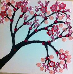 Cherry-blossom Button Tree made on Canvas.