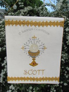 I have been creating a lot of communion banners for kids to commemorate their First Holy Communion this year.  The personalization makes each one so unique!  by Irishandmore.etsy.com