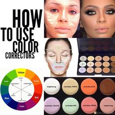 """alluremakeup-il: """"How to use color correctors! Basically, to neutralize a color, you find it on the color wheel, and use the opposite color in place. Color correctors and neutralizers are found in. Corrector Makeup, Corrector Palette, Concealer Brush, All Things Beauty, Beauty Make Up, Pink Things, Beauty Tips, Love Makeup, Beauty Makeup"""