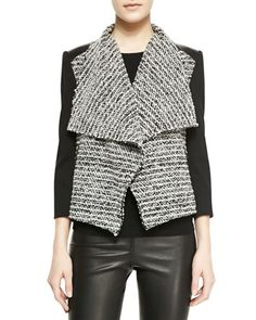 Burma Jacket With Leather Detail by Alice + Olivia at Bergdorf Goodman.