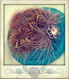 'Jacquetta Woodville' fascinator... Turquoise rafia base with local pheasant feathers finished with a vintage broach.  £20
