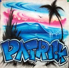 Custom Airbrushed Beach Scene on a T-shirt, Personalize & Airbrush YOUR Name