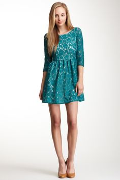 French Connection Lizzie Lace 3/4 Sleeve Dress