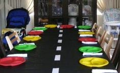 love the road tablecloth!  It would be cute for your son's 16 bday or the day he gets his driver's license!