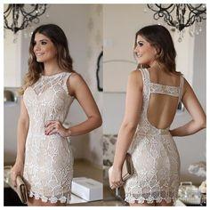 Light Tan/Cream Sheer Lace Cut Out Back Dress. Casual Dresses, Short Dresses, Prom Dresses, Dress Skirt, Lace Dress, Glamour, Little Dresses, Dress Me Up, Ideias Fashion
