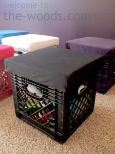 diy crate stools for toy storage, entertainment rec rooms, organizing, repurposing upcycling, storage ideas Diy Toy Storage, Storage Stool, Storage Ideas, Crate Storage, Storage Solutions, Smart Storage, Food Storage, Crate Stools, Crate Bench