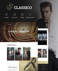 Classico is a fully responsive theater WordPress theme with a truly elegant and gorgeous design! Capture the audience with your website by adding all the details about your artistic team, the lates...