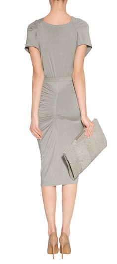 Donna karan new york Hemp Draped Jersey Dress with Belt in Gray | Lyst