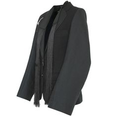 ANN DEMEULEMEESTER $1,700 wide oversize sleeve fringes blazer jacket 36-FR/4 NEW #AnnDemeulemeester #Blazer