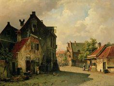Une ville néerlandaise de Willem Koekkoek (1839-1895, Netherlands)